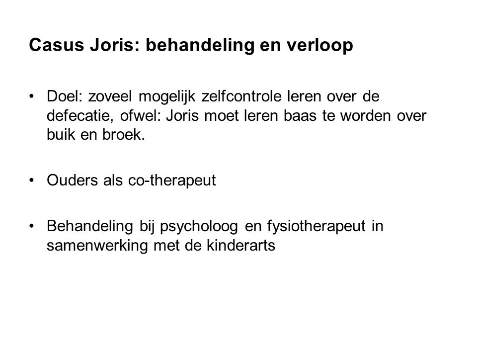 Casus Joris: behandeling en verloop