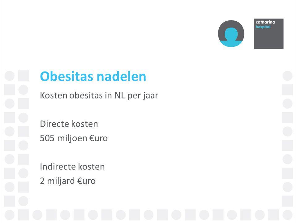 Obesitas nadelen Kosten obesitas in NL per jaar Directe kosten