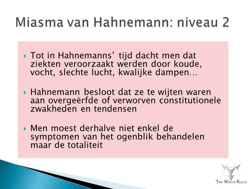 Tot in Hahnemanns' tijd dacht men dat ziekten veroorzaakt werden door koude, vocht, slechte lucht, kwalijke dampen…