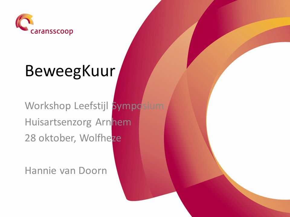 BeweegKuur Workshop Leefstijl Symposium Huisartsenzorg Arnhem