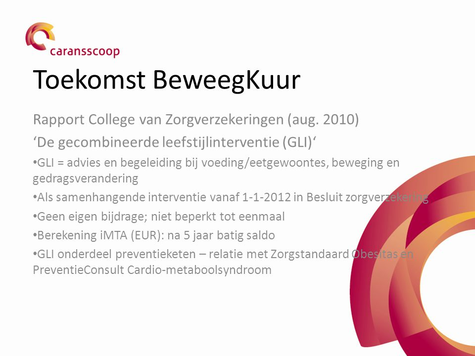Toekomst BeweegKuur Rapport College van Zorgverzekeringen (aug. 2010)