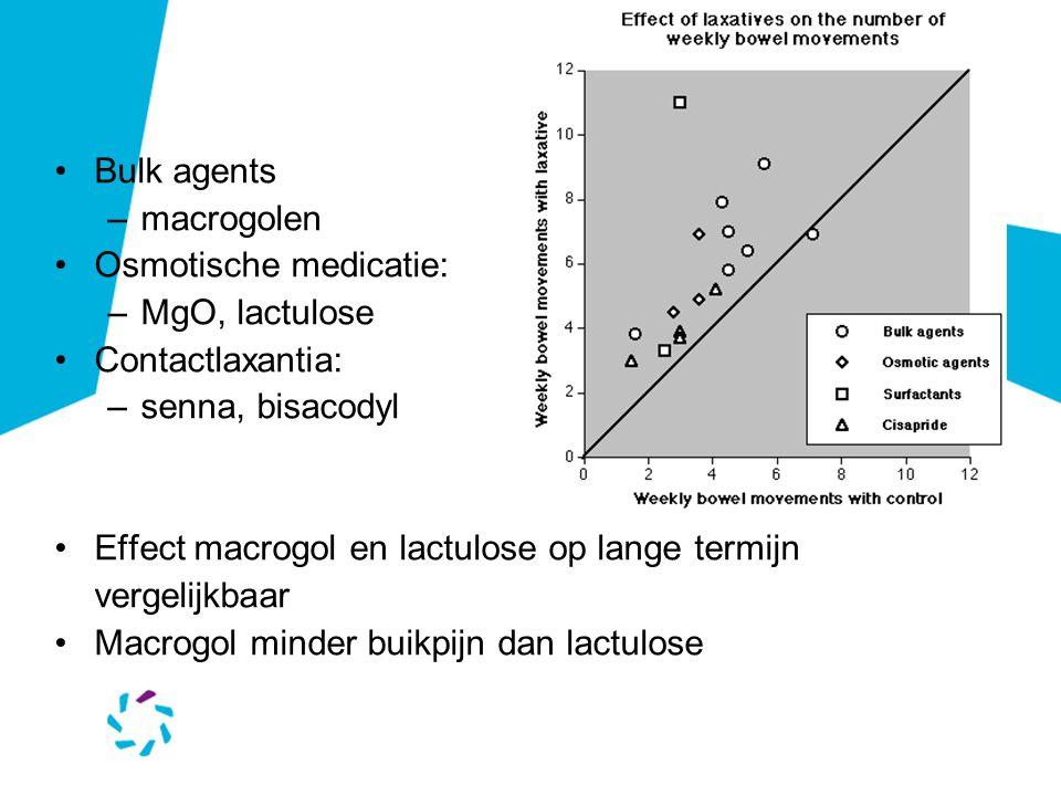 Bulk agents macrogolen. Osmotische medicatie: MgO, lactulose. Contactlaxantia: senna, bisacodyl.