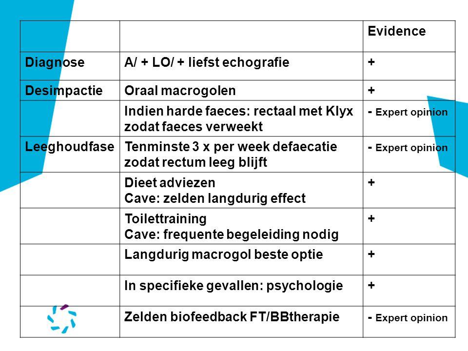 Evidence Diagnose. A/ + LO/ + liefst echografie. + Desimpactie. Oraal macrogolen. Indien harde faeces: rectaal met Klyx zodat faeces verweekt.