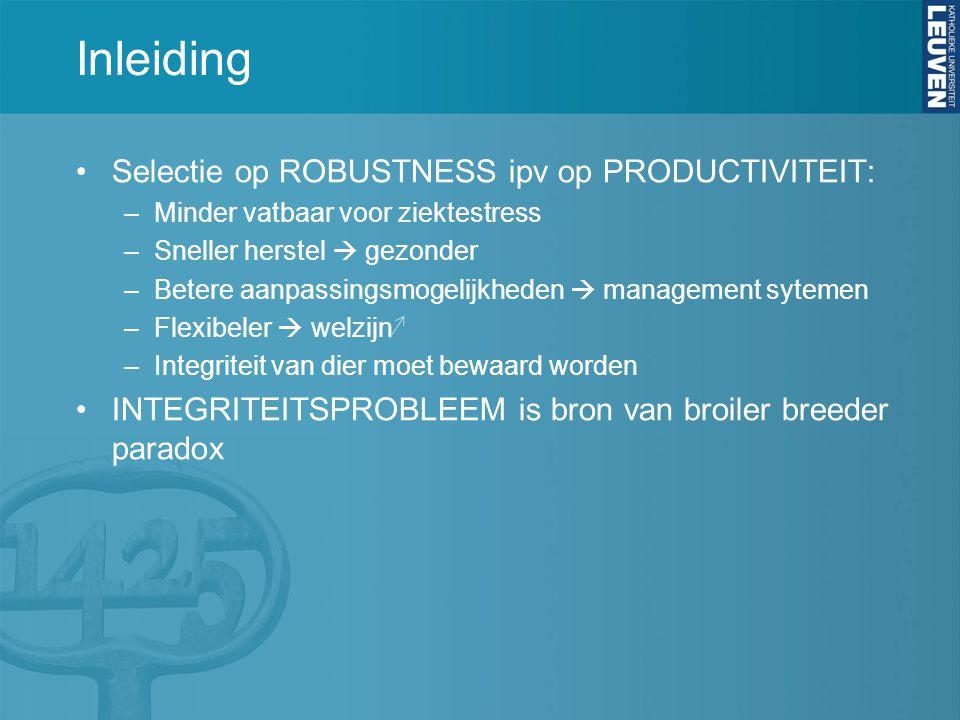 Inleiding Selectie op ROBUSTNESS ipv op PRODUCTIVITEIT: