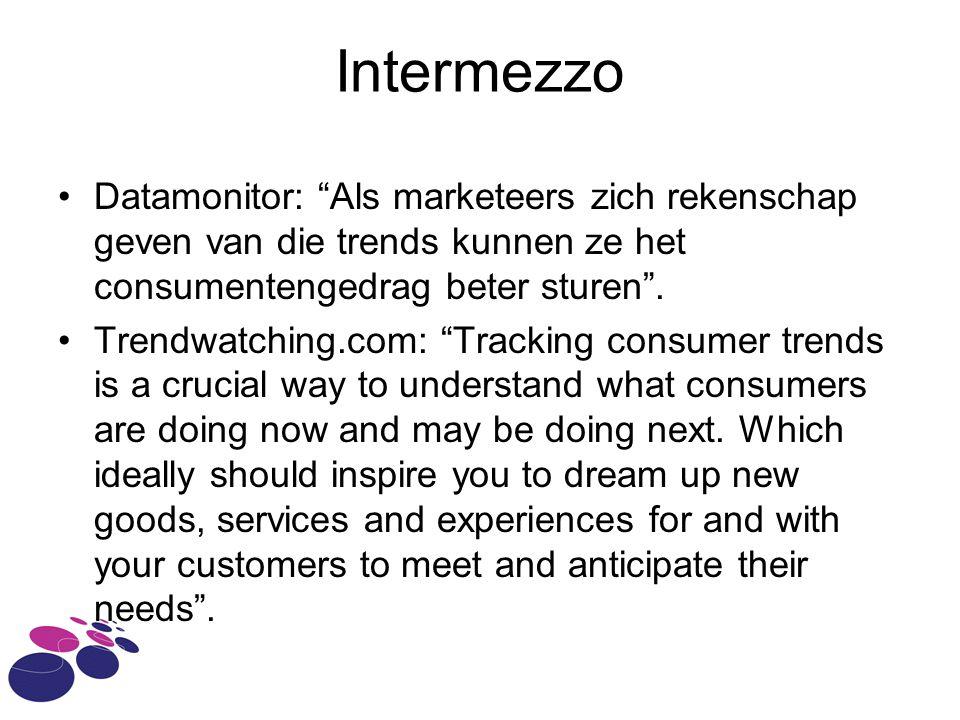 Intermezzo Datamonitor: Als marketeers zich rekenschap geven van die trends kunnen ze het consumentengedrag beter sturen .