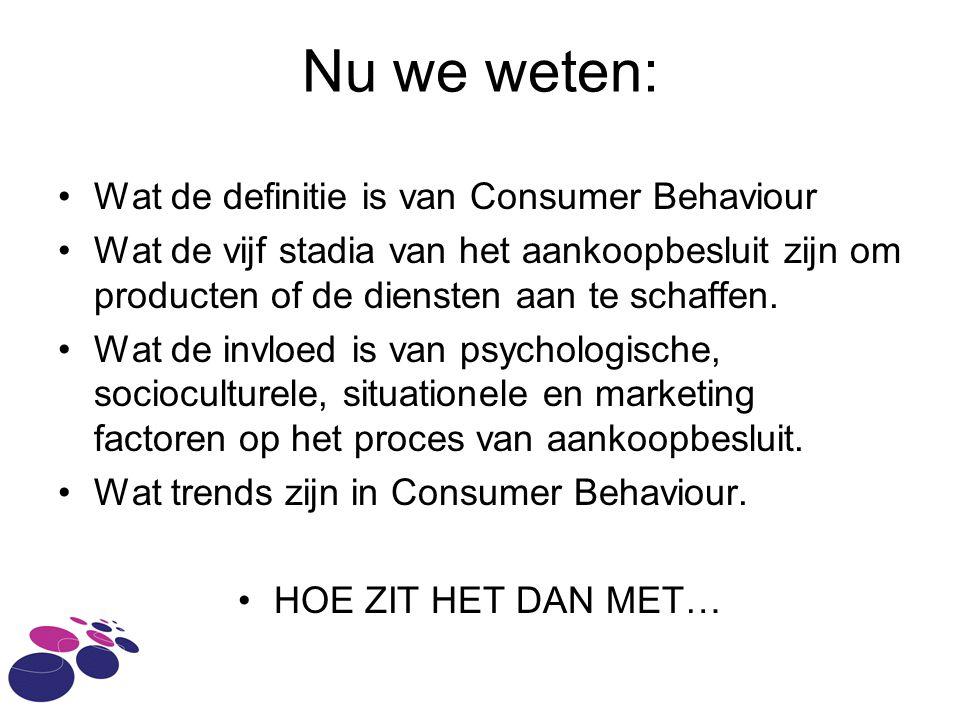 Nu we weten: Wat de definitie is van Consumer Behaviour