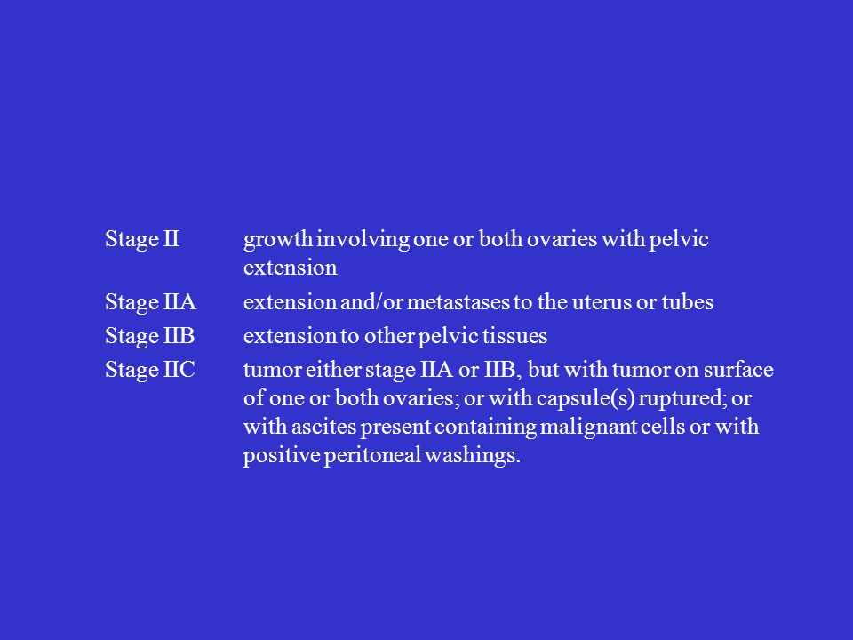 Stage II growth involving one or both ovaries with pelvic extension