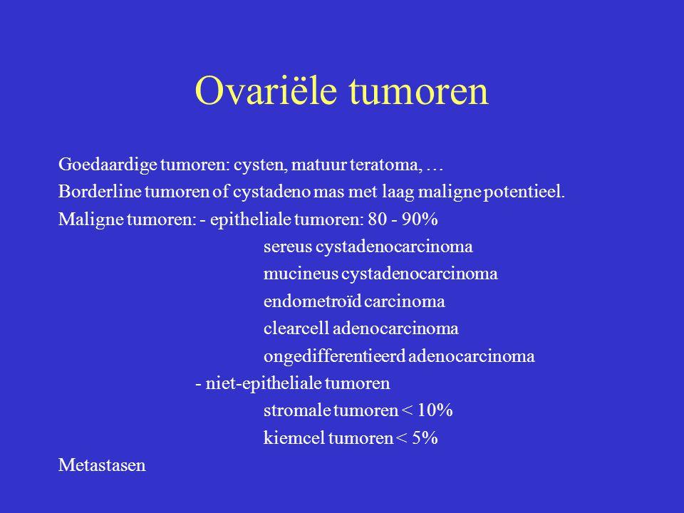 Ovariële tumoren Goedaardige tumoren: cysten, matuur teratoma, …