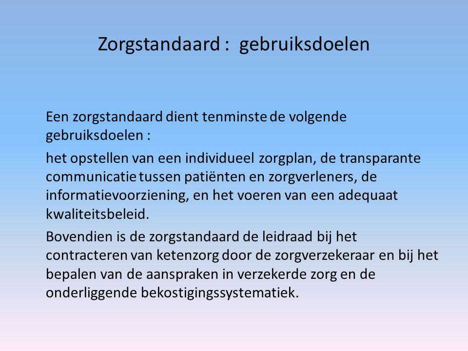 Zorgstandaard : gebruiksdoelen