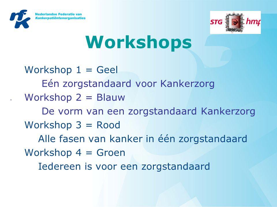 Workshops Workshop 1 = Geel Eén zorgstandaard voor Kankerzorg