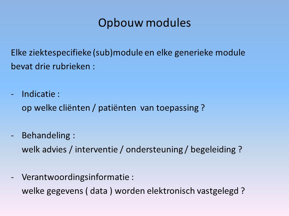 Opbouw modules