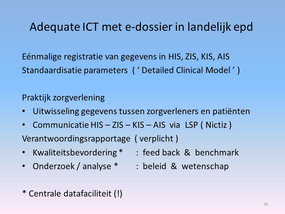 Adequate ICT met e-dossier in landelijk epd