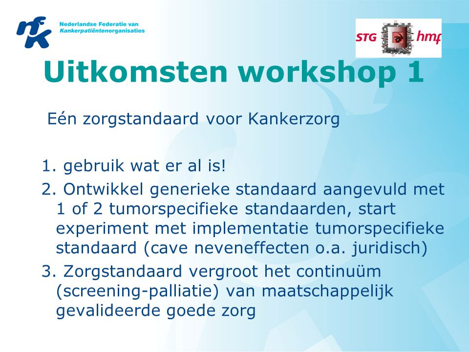 Uitkomsten workshop 1