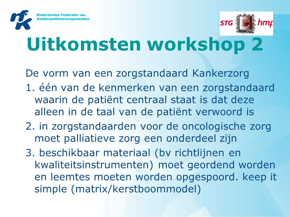 Uitkomsten workshop 2