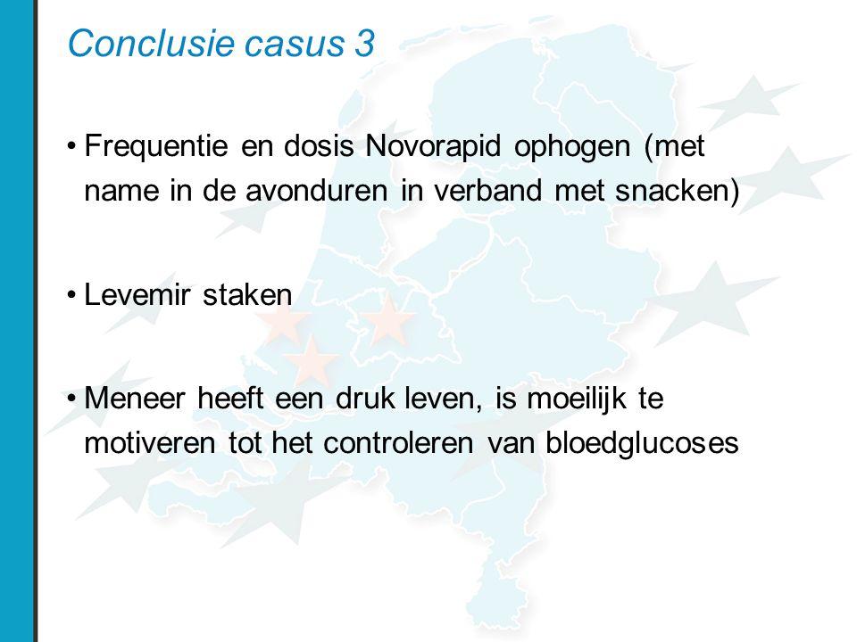 Conclusie casus 3 Frequentie en dosis Novorapid ophogen (met name in de avonduren in verband met snacken)