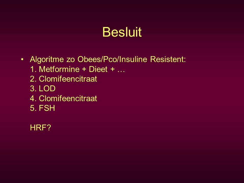 Besluit Algoritme zo Obees/Pco/Insuline Resistent: 1.