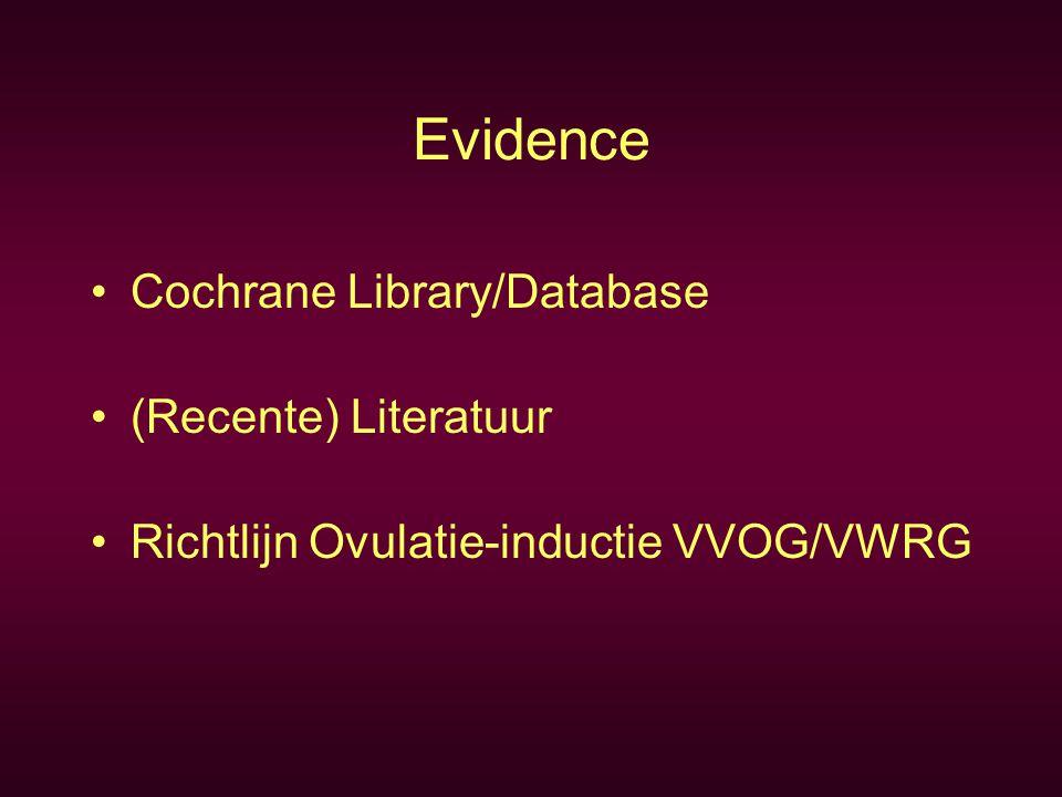 Evidence Cochrane Library/Database (Recente) Literatuur