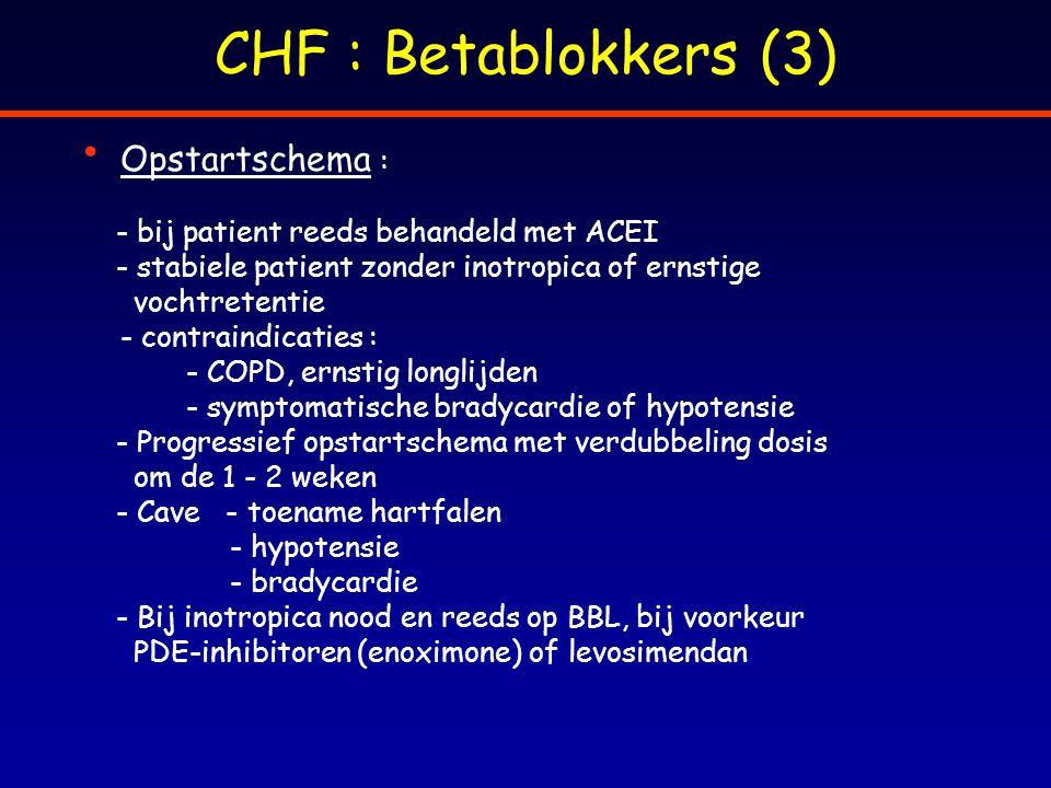 CHF : Betablokkers (3) Opstartschema :