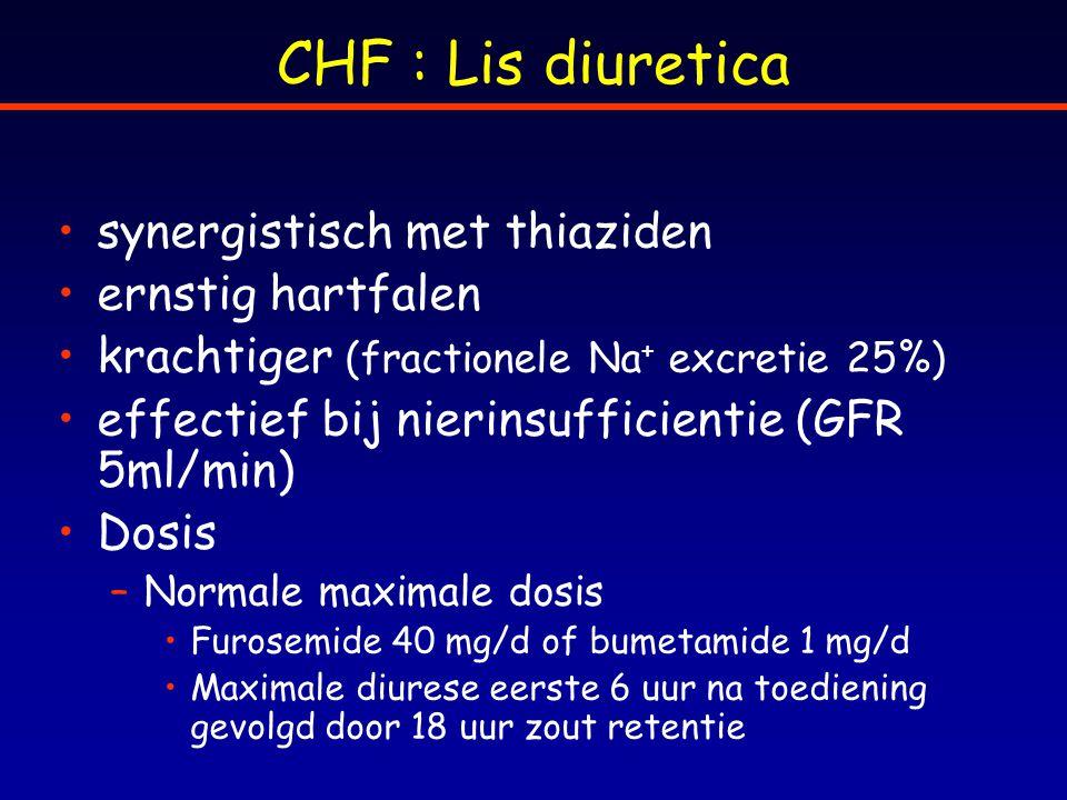 CHF : Lis diuretica synergistisch met thiaziden ernstig hartfalen