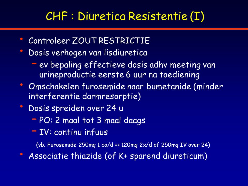 CHF : Diuretica Resistentie (I)