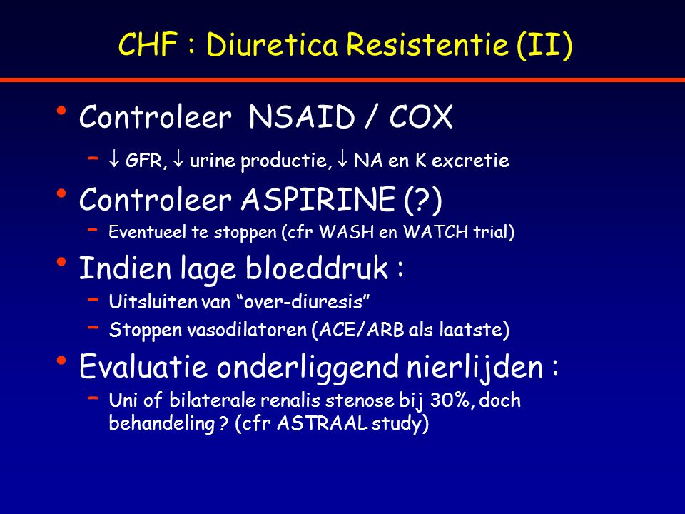 CHF : Diuretica Resistentie (II)