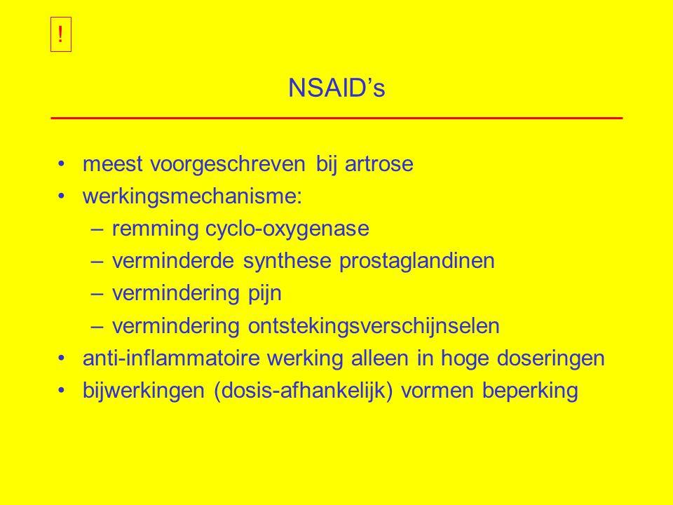 NSAID's ! meest voorgeschreven bij artrose werkingsmechanisme: