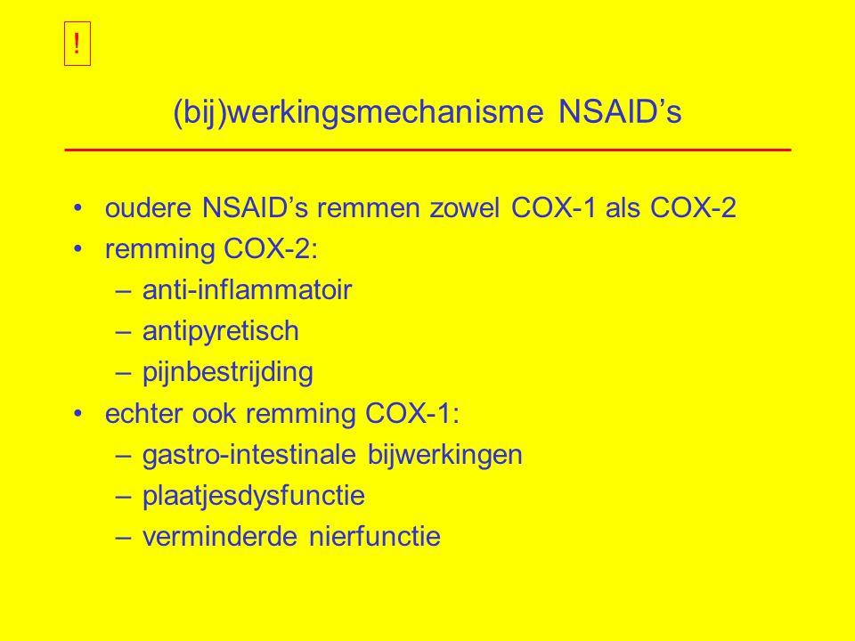 (bij)werkingsmechanisme NSAID's