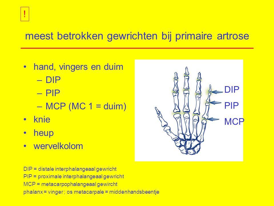 meest betrokken gewrichten bij primaire artrose