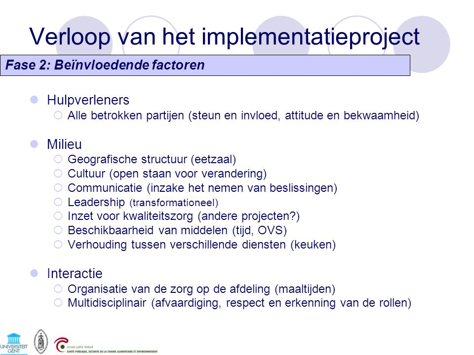 Verloop van het implementatieproject