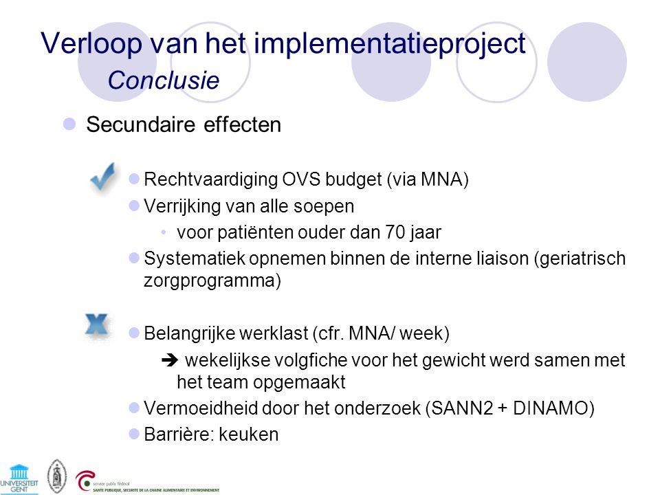 Verloop van het implementatieproject Conclusie