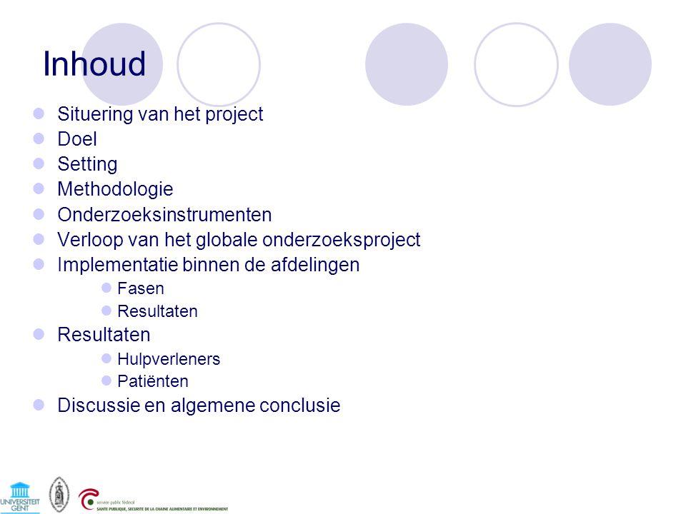 Inhoud Situering van het project Doel Setting Methodologie