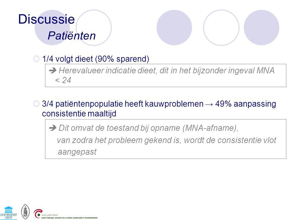 Discussie Patiënten  Dit omvat de toestand bij opname (MNA-afname),