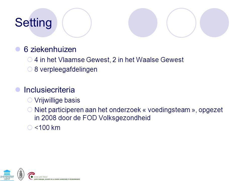 Setting 6 ziekenhuizen Inclusiecriteria