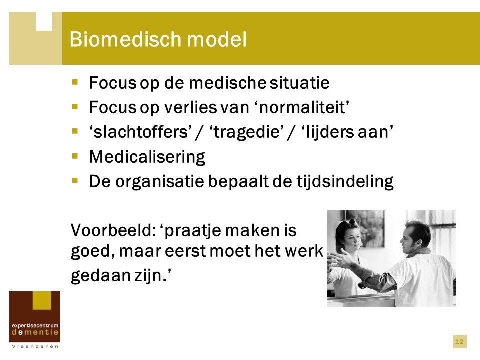 Biomedisch model Focus op de medische situatie