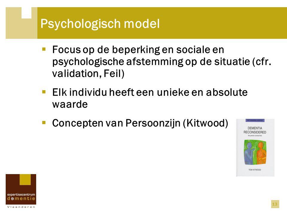 Psychologisch model Focus op de beperking en sociale en psychologische afstemming op de situatie (cfr. validation, Feil)