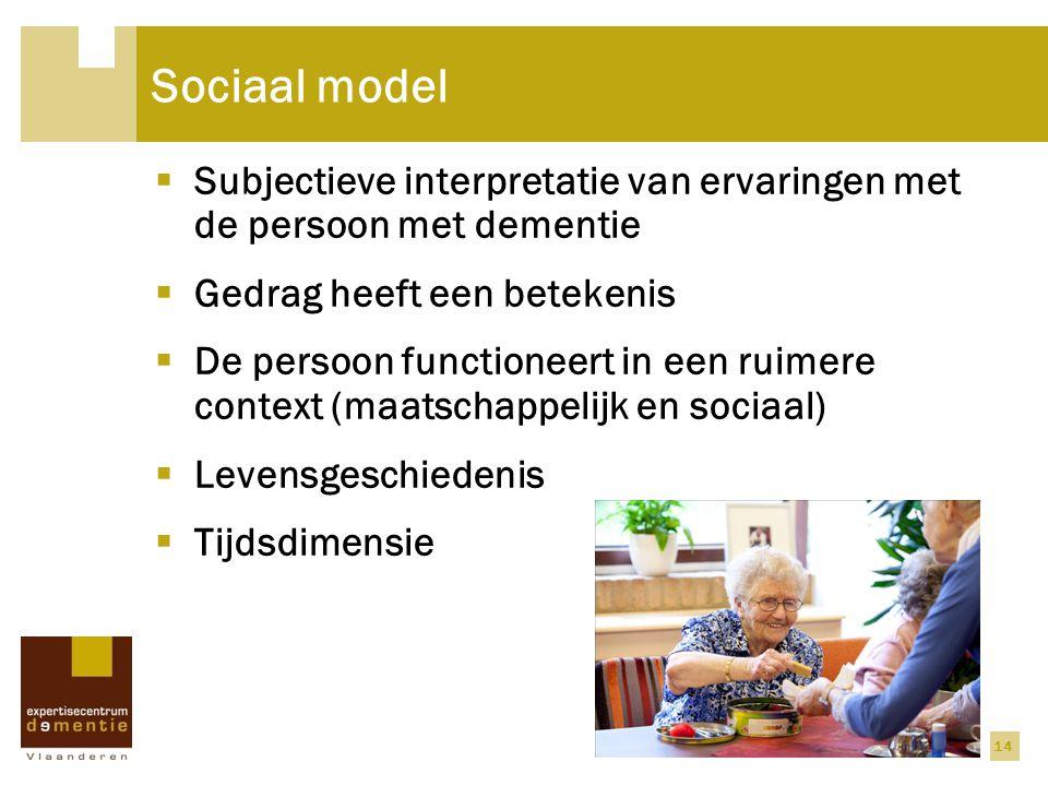 Sociaal model Subjectieve interpretatie van ervaringen met de persoon met dementie. Gedrag heeft een betekenis.