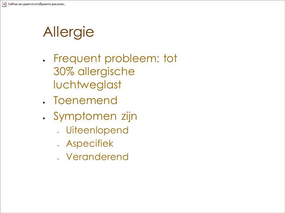Allergie Frequent probleem: tot 30% allergische luchtweglast Toenemend