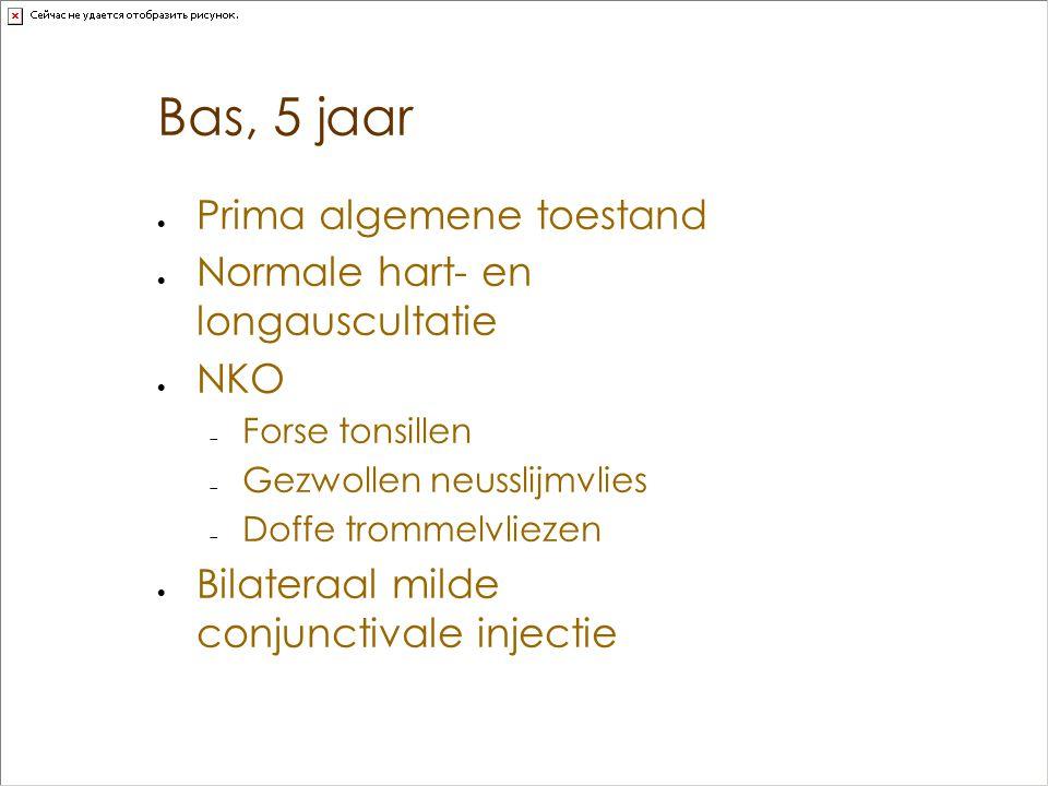 Bas, 5 jaar Prima algemene toestand Normale hart- en longauscultatie