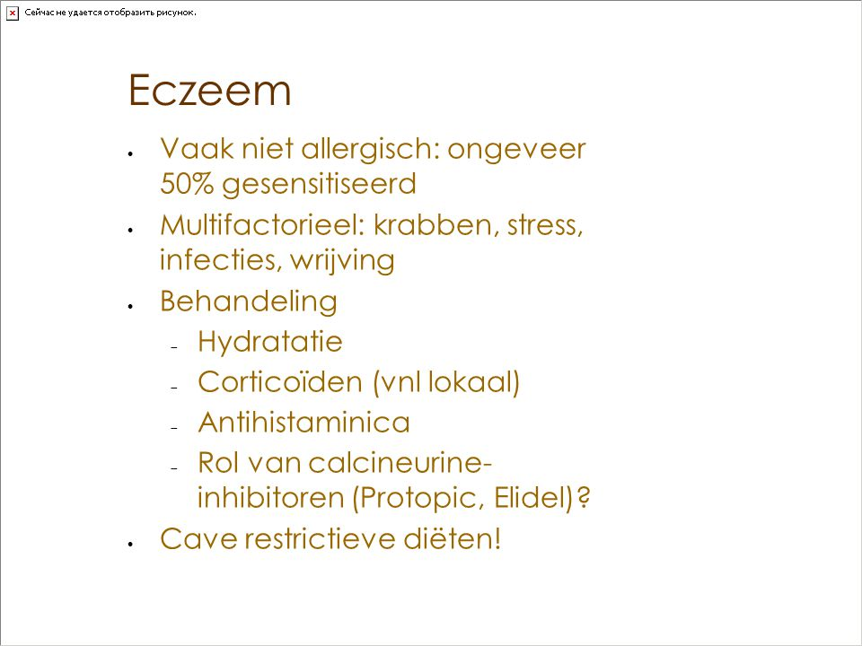Eczeem Vaak niet allergisch: ongeveer 50% gesensitiseerd