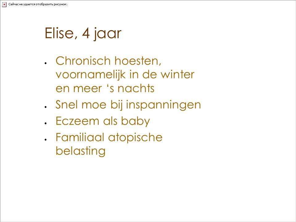 Elise, 4 jaar Chronisch hoesten, voornamelijk in de winter en meer 's nachts. Snel moe bij inspanningen.
