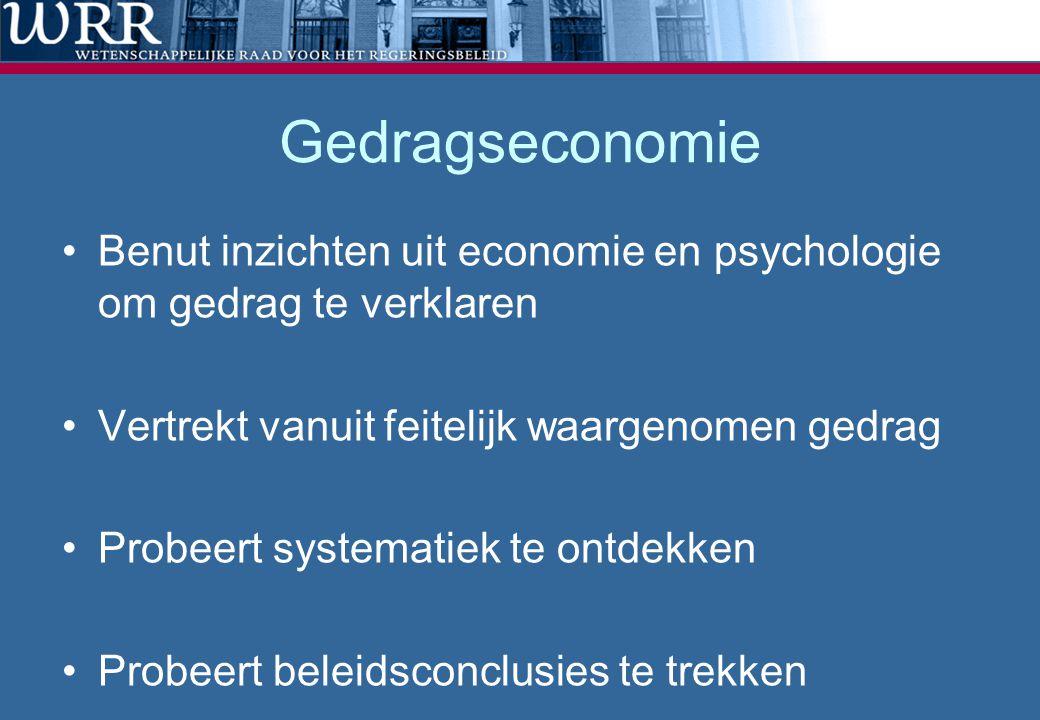 Gedragseconomie Benut inzichten uit economie en psychologie om gedrag te verklaren. Vertrekt vanuit feitelijk waargenomen gedrag.