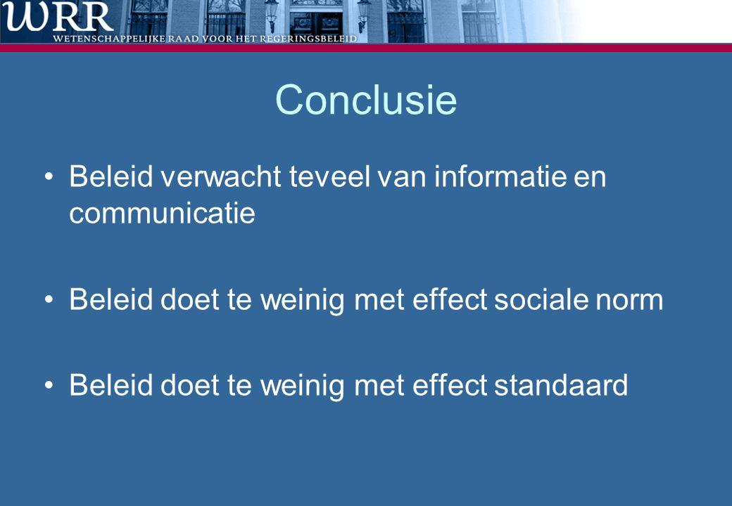 Conclusie Beleid verwacht teveel van informatie en communicatie
