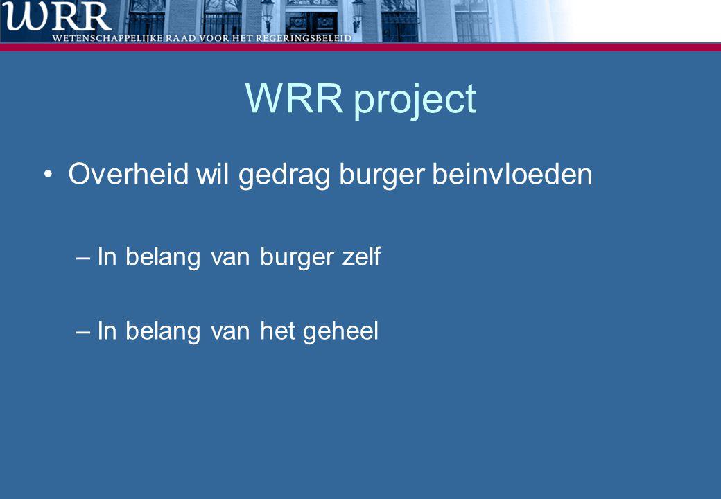 WRR project Overheid wil gedrag burger beinvloeden