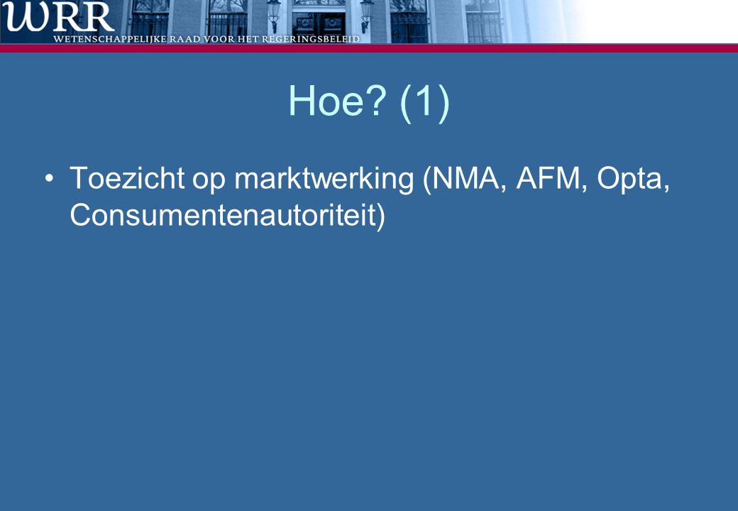 Hoe (1) Toezicht op marktwerking (NMA, AFM, Opta, Consumentenautoriteit)
