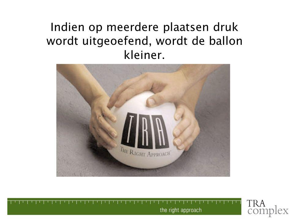 Indien op meerdere plaatsen druk wordt uitgeoefend, wordt de ballon kleiner.