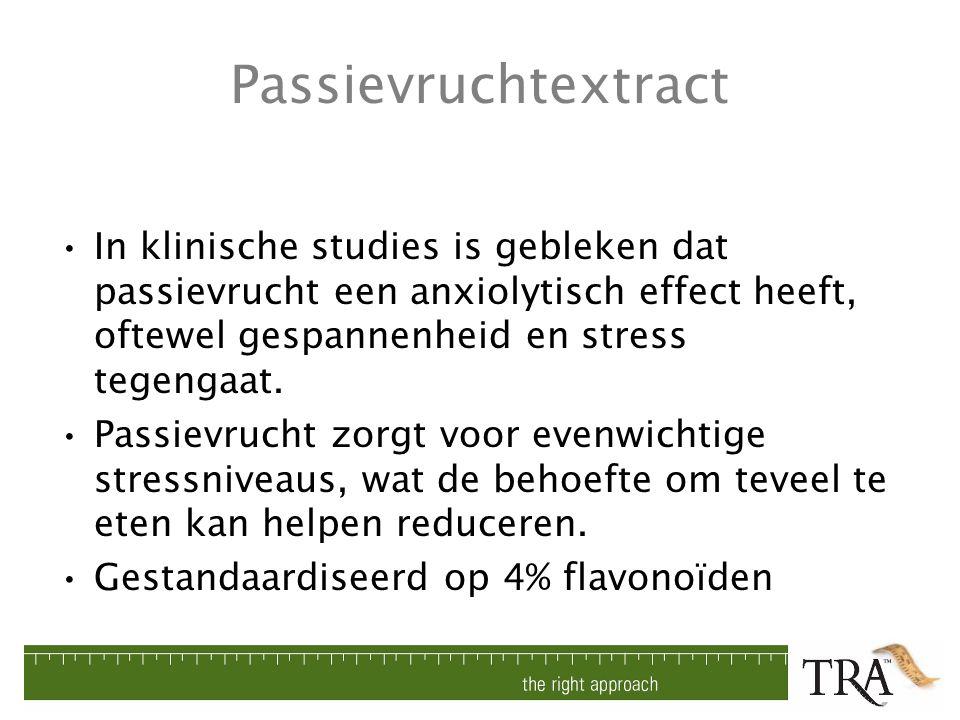 Passievruchtextract In klinische studies is gebleken dat passievrucht een anxiolytisch effect heeft, oftewel gespannenheid en stress tegengaat.