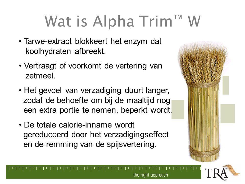 Wat is Alpha Trim™ W Tarwe-extract blokkeert het enzym dat koolhydraten afbreekt. Vertraagt of voorkomt de vertering van zetmeel.