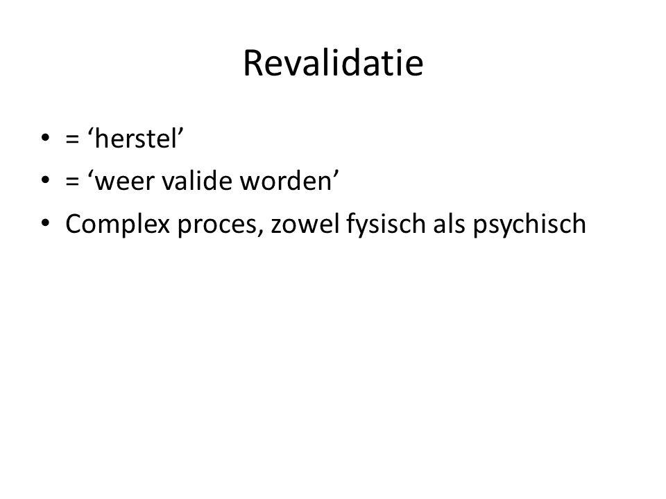Revalidatie = 'herstel' = 'weer valide worden'