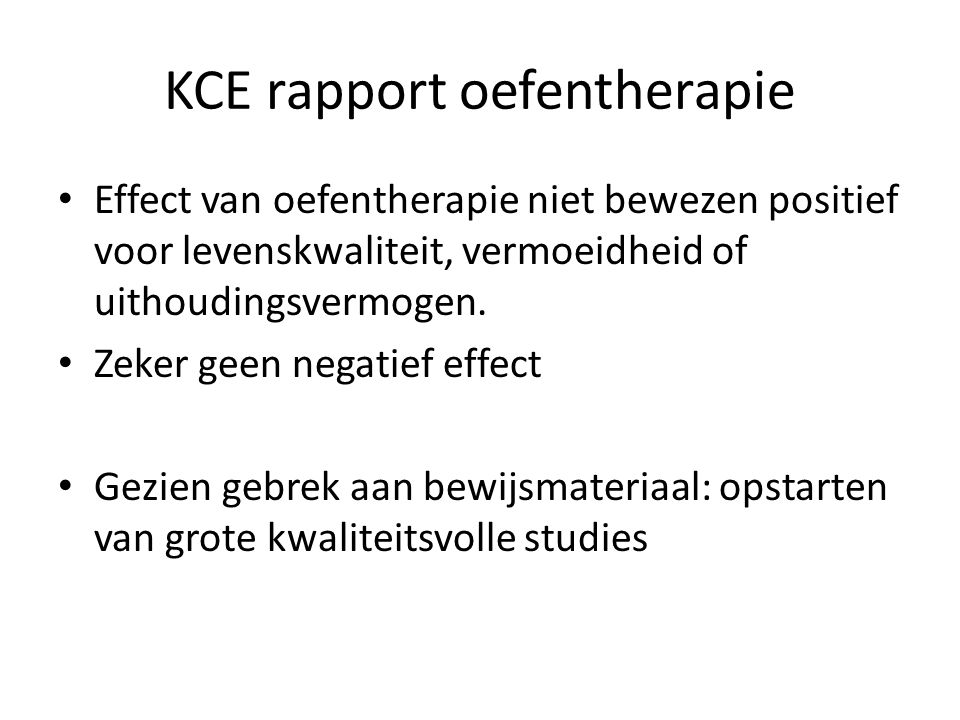 KCE rapport oefentherapie