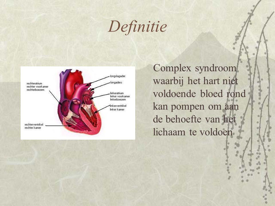Definitie Complex syndroom waarbij het hart niet voldoende bloed rond kan pompen om aan de behoefte van het lichaam te voldoen.